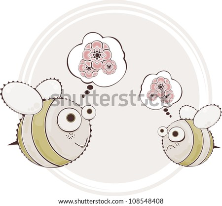 This is illustration of cute honeybee - stock vector