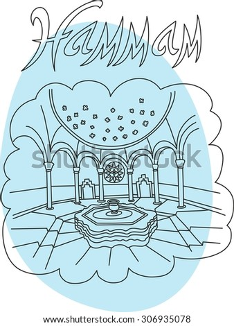 This is perfect linear hand drawn style illustration in vector of hammam topic. The most famous turkey spa. Perfect for web, banners, advertising and at you will. - stock vector