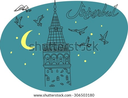 This is perfect linear hand drawn style illustration of Istanbul topic. The most famous landmark. Perfect for web, banners, advertising and at you will. - stock vector