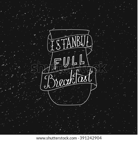 This is perfect linear handdraw style illustration of Istanbul topic. The best for your cafe menu lettering Istambul full breakfast in vintage chalk style. Perfect for web, banners, advertising - stock vector