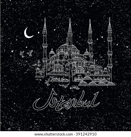 This is perfect linear handdraw style illustration of Istanbul topic. The most famous landmark vintage chalk style. Sultan Ahmet mosque. Perfect for web, banners, advertising and at you will. - stock vector