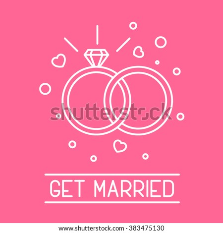 This is perfect thin linear illustration of get married topic. The best collection for your needs. Useful for web, apps, button, invitation, postcard and other. Wedding rings with brilliant and heart. - stock vector