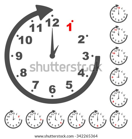 This is set gray clock icons for every time - stock vector