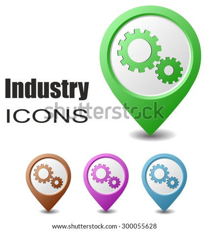 This is set industry map pointers - stock vector