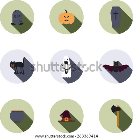 This is set of flat design icons of halloween party topic. There are 9 flat icons, including grave,Jack-o'-lantern, coffin, black cat, ghost, bat, bowler with poison, witch hat and ax - stock vector