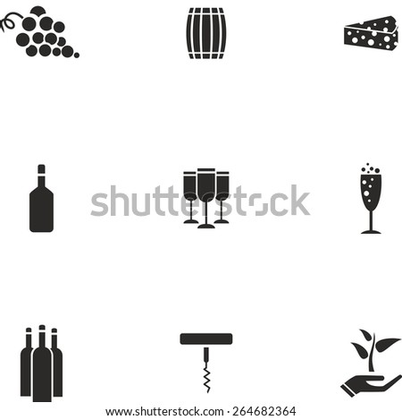 This is set of flat design icons of wine topic. There are 9 flat icons, including grape, barrel, cheese, brandy bottle, glass, glass with champagne, wine bottle, corkscrew and eco symbol - stock vector