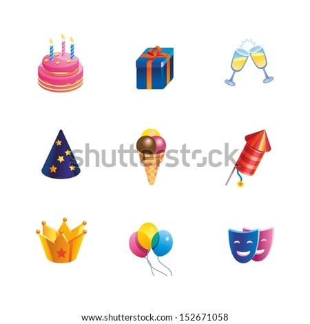 This is set of isometric design icons of holiday topic. All you need for party is there. 9 icons including cake, ice-cream, crown, gift box,glass with champagne,party hat, mask,balloon,firework