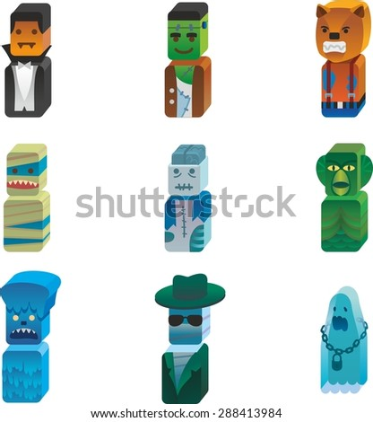 This is set of isometric design icons of horror hero topic. There are 9 3d icons, including werewolf, zombie, amphibian, snowman, yeti, bigfoot, mummy,ghost,vampire - stock vector