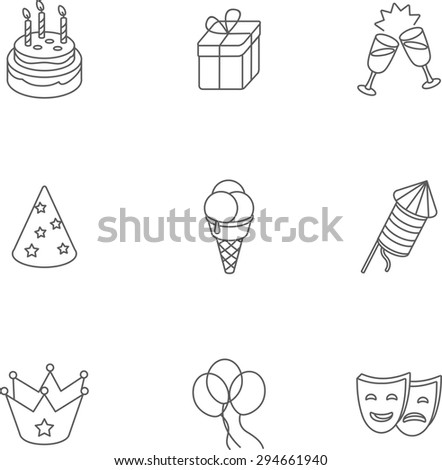 This is set of isometric linear design icons of birthday. There are 9 icons including cake, ice-cream, crown, gift box,glass with champagne,party hat, mask,balloon,firework - stock vector