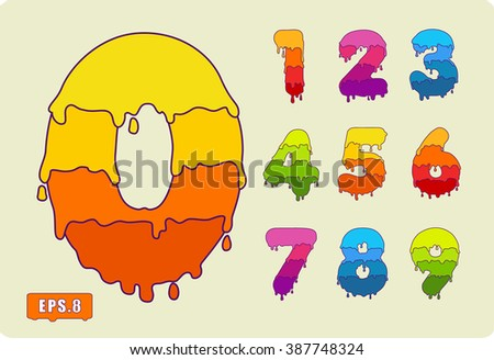 This Joyful set of numbers painted with paint, with smudges and drops. With contour stroke. Zero 0 One 1 Two 2 Three 3 Four 4 Five 5 Six 6 Seven 7 eight 8 nine 9. eps8 - stock vector