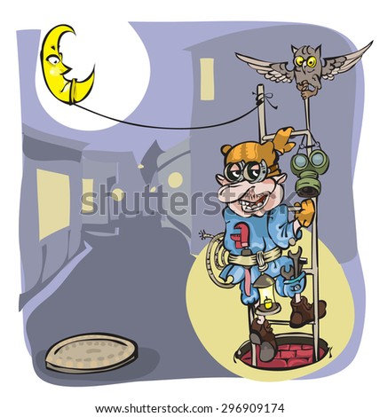 This man - a plumber, handyman , will help you. - stock vector