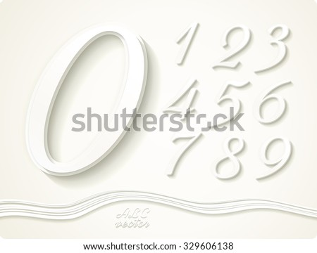 This set of stylish vector digits of cut out of paper. Zero 0 One 1 Two 2 Three 3 Four 4 Five 5 Six 6 Seven 7 eight 8 nine 9. - stock vector