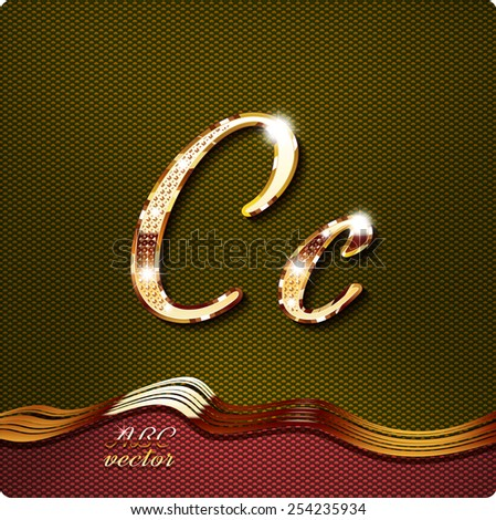 """This stylish gold cursive letters. There are inlaid with a capital """"C"""" and the lowercase letter """"C"""". They have shadows and highlights.The rest of numbers and letters of the alphabet in my portfolio. - stock vector"""