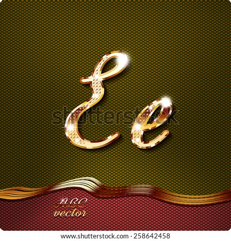 """This stylish gold cursive letters. There are inlaid with a capital """"E"""" and the lowercase letter """"e"""". They have shadows and highlights.The rest of numbers and letters of the alphabet in my portfolio. - stock vector"""