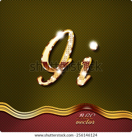 """This stylish gold cursive letters. There are inlaid with a capital """"I"""" and the lowercase letter """"i"""". They have shadows and highlights.The rest of numbers and letters of the alphabet in my portfolio. - stock vector"""