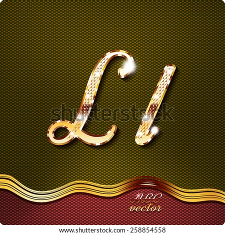 "This stylish gold cursive letters. There are inlaid with a capital ""L"" and the lowercase letter ""l"". They have shadows and highlights.The rest of numbers and letters of the alphabet in my portfolio. - stock vector"