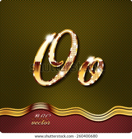 """This stylish gold cursive letters. There are inlaid with a capital """"O"""" and the lowercase letter """"o"""". They have shadows and highlights.The rest of numbers and letters of the alphabet in my portfolio. - stock vector"""
