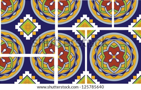 This talavera inspired spanish tile has intersecting circles with intricate floral patterns and a navajo like cross motif. This file includes 2 full square tiles, 2 half tiles and the quartered tile. - stock vector