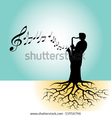 This vector background has a sax player with tree roots - stock vector