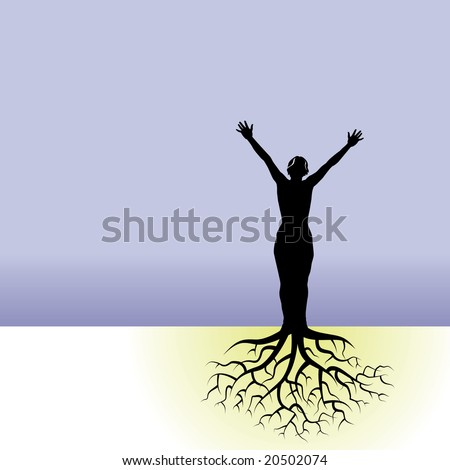 This vector background has a woman with tree roots - stock vector