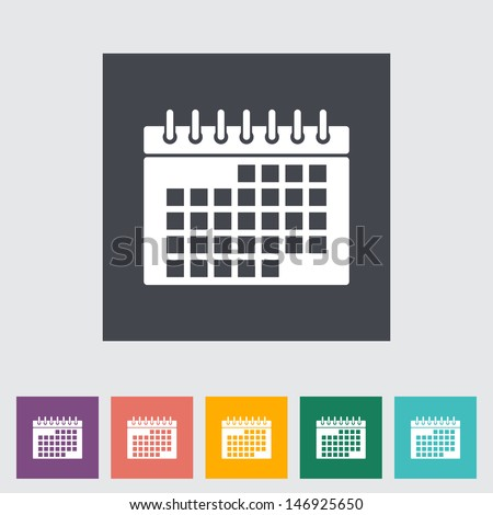 This vector illustration of a calendar flat icon. - stock vector