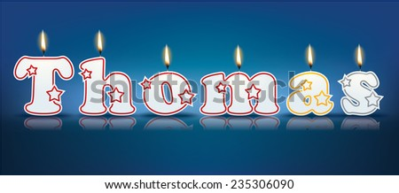 THOMAS written with burning candles - vector illustration