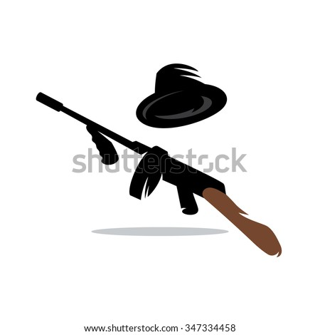 Thompson Machine gun favorite weapon of gangsters in the  1920 -1930. Vector Cartoon Illustration. - stock vector