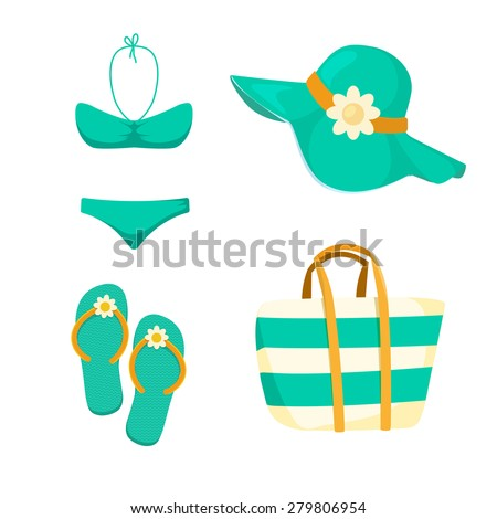 Thongs. Hat. Swimsuit. Bag. Women summer beach accessories. Cloths symbols collection.  - stock vector