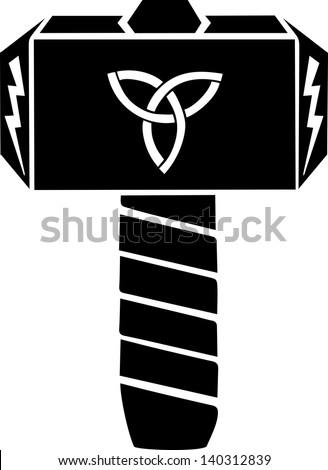 Thors Hammer Vector Design Triquetra Flash Stock Vector Royalty