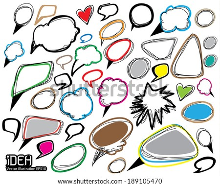 Thought bubble drawing set. - stock vector