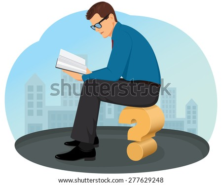 Thoughtful businessman sitting on a question mark and reading a book - stock vector