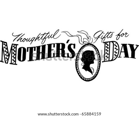 Thoughtful Gifts For Mother's Day - Ad Banner - Retro Clipart - stock vector