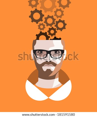 Thoughtful man - stock vector