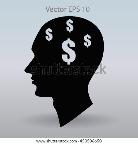 thoughts about money vector illustration - stock vector