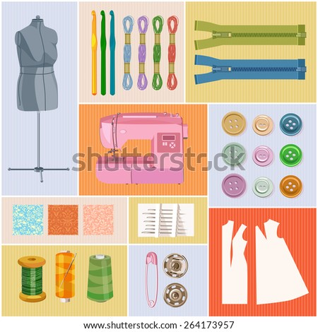 Thread for sewing, supplies and accessories for sewing on colorful background. Vector sewing equipment