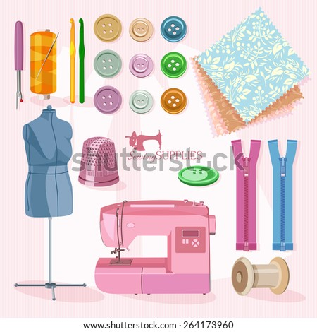 Thread for sewing, supplies and accessories for sewing on light pink background.  Vector sewing equipment