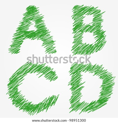 Thread or Drawing alphabet set A B C D - stock vector