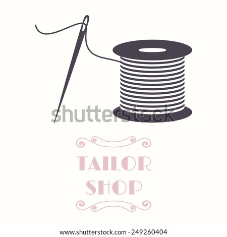Thread spool and needle icon. Tailor shop and needlework symbol - stock vector