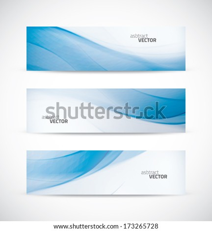 Three abstract blue business wave banner header backgrounds vector eps10 - stock vector