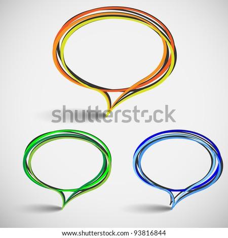 Three abstract talking bubbles.Hand-drawn vector - stock vector