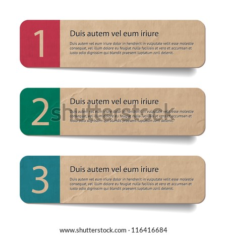 Three abstract vintage old paper banners / stickers / badges with print decorations, one two three steps - stock vector