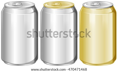 Three aluminum cans without label illustration