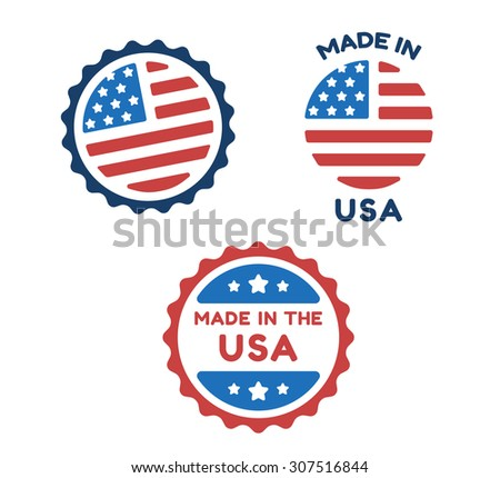 Three American Made labels in colors of USA flag isolated on white background.