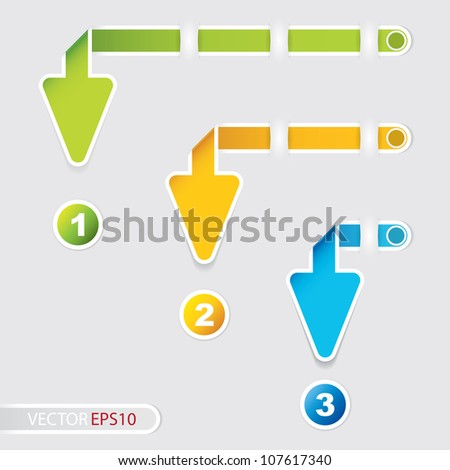 Three arrow style paper tag - stock vector