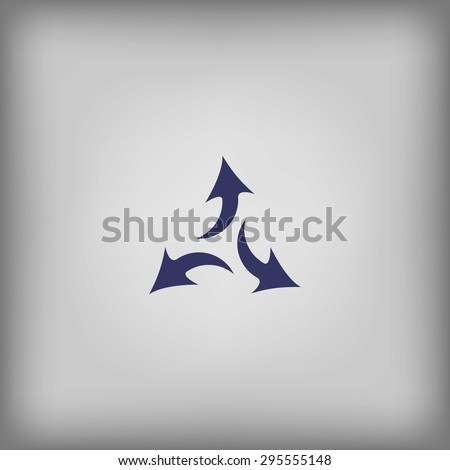three arrows in different directions on a white background with shadow - stock vector