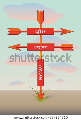 Three arrows showing three directions - stock vector
