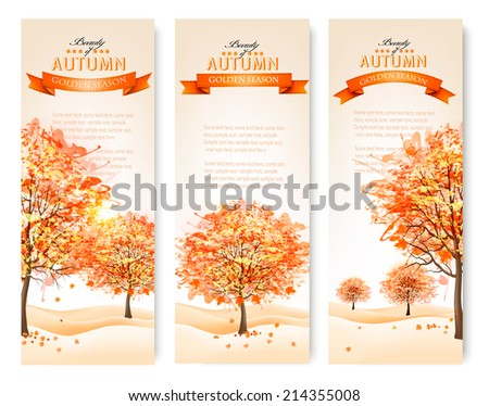 Three autumn abstract banners with colorful leaves and trees.Vector illustration.  - stock vector