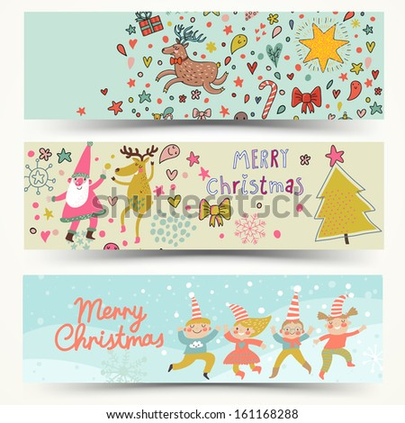Three awesome New Year and Christmas cards in vector. Cute elves, Santa, Deer in holiday cards in cartoon style - stock vector