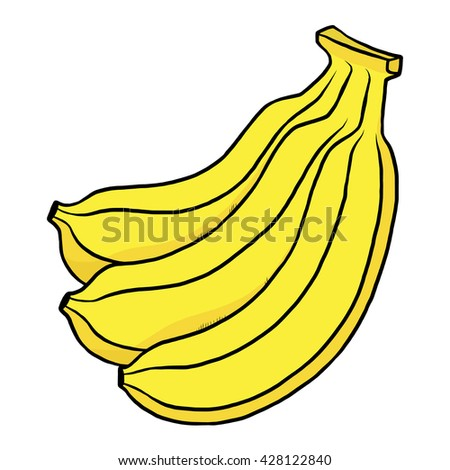 three bananas / cartoon vector and illustration, hand drawn style, isolated on white background. - stock vector