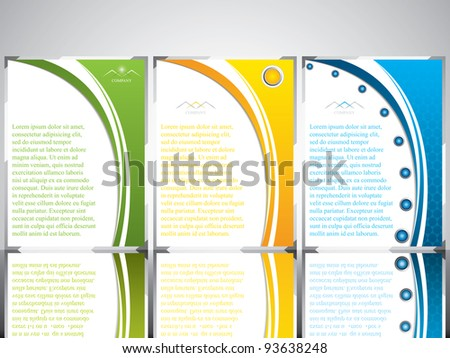 Three banner style brochure with text - stock vector